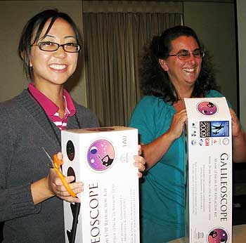 Workshop participants; proud owners of new Galileoscopes. Tam Huynh from Evergreen Elementary School on left